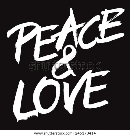 Vector white painted sign PEACE & LOVE - stock vector