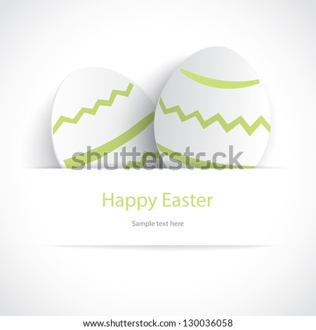 Vector white Paper card with easter eggs - stock vector