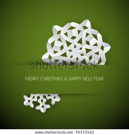Vector white paper christmas snowflake on a green background - stock vector