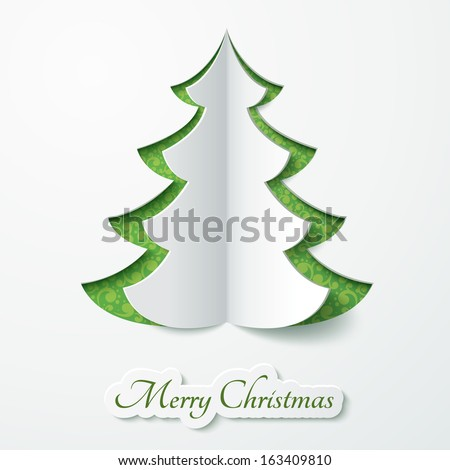 Vector white paper Christmas tree on a green matte background. Design elements for holiday cards. - stock vector