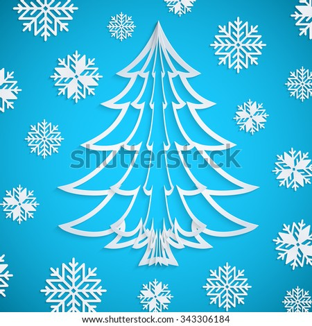 Vector white paper Christmas tree on the blue background with snowflakes. Design elements for holiday cards. EPS10. - stock vector