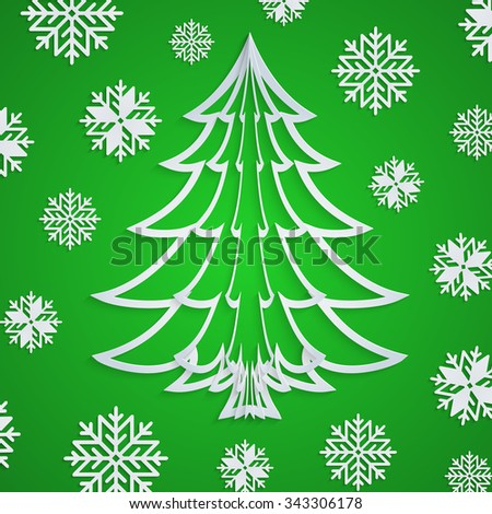 Vector white paper Christmas tree on the green background with snowflakes. Design elements for holiday cards. EPS10. - stock vector