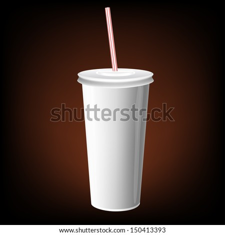 vector white paper cup cola with plastic straw soft packaging drink soda fast food
