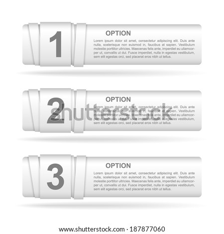 vector white paper option labels with number of option on ribbon - stock vector