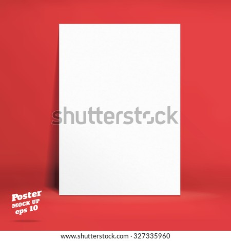 Vector : White paper poster in red studio room, Template mock up for display of product,Business backdrop - stock vector