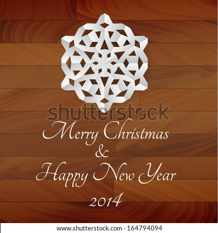 Vector white paper snowflake on a wooden background - rustical christmas card - stock vector