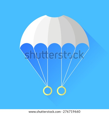 Vector White Parachute Icon Isolated on Blue Background. - stock vector