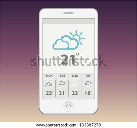 Vector white phone with weather gadget - stock vector