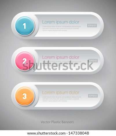 Vector white plastic banners with glossy round buttons - stock vector