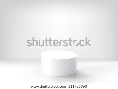 Vector white podium in an empty white room. EPS10 background - stock vector