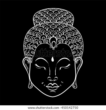 Vector white Portrait of Buddha for ornamental adult coloring pages, Buddhism tattoo art, ethnic patterned t-shirt print. Monochrome hand drawn religion illustration in doodle style. - stock vector