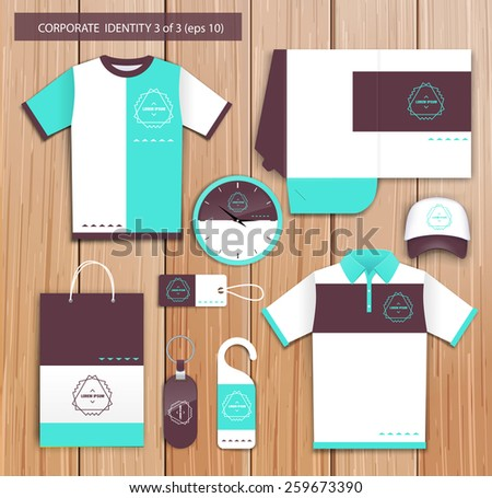 Vector white promotional souvenirs design for company with brown, celadon  elements. Elements of stationery. Eps 10 - stock vector