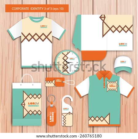 Vector white promotional souvenirs design for company with green, orange, yellow  elements. Elements of stationery. Eps 10 - stock vector