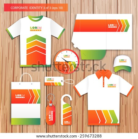 Vector white promotional souvenirs design for company with red, yellow, green  elements. Elements of stationery. Eps 10 - stock vector