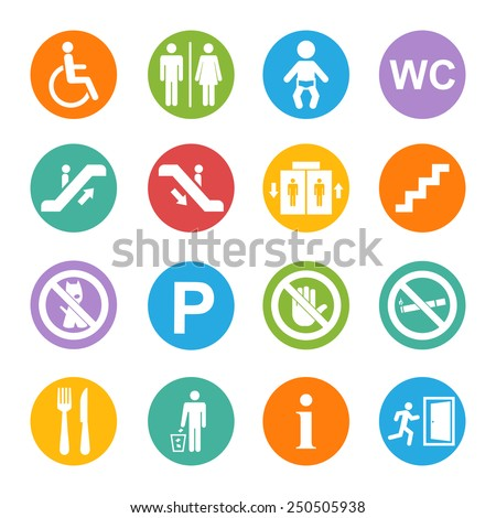 Vector white public icons set with toilet,child,garbage,dog,lift,escalator,exit,stairs,wheel chair,smoking,internet, parking,cafe,eatery on a blue background