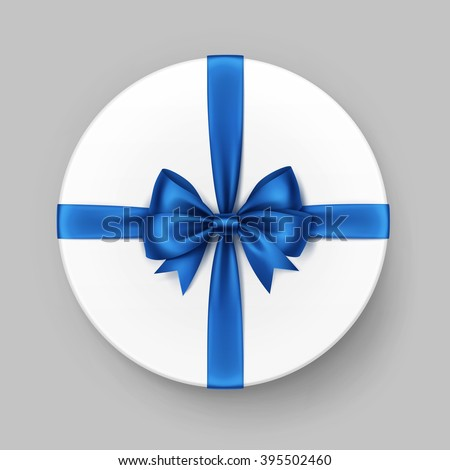 Vector White Round Gift Box with Shiny Blue Satin Bow and Ribbon Top View Close up Isolated on Background - stock vector