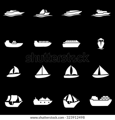 Vector white ship and boat icon set. Ship and Boat Icon Object, Ship and Boat Icon Picture, Ship and Boat Icon Image, Ship and Boat Icon Graphic, Ship and Boat Icon JPG  - stock vector - stock vector