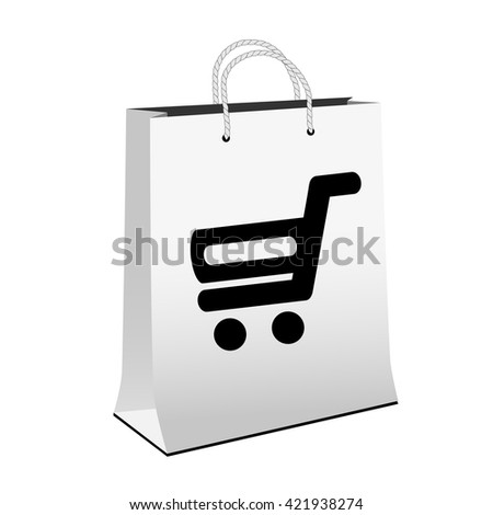 Vector white shopping paper bag with simple black symbol of shopping cart - trolley. Item, buy button on web page.  - stock vector