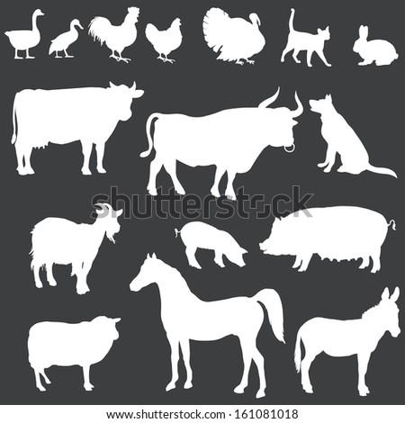 Farm animal head silhouettes - photo#26