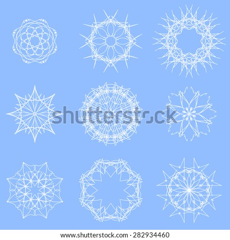 Vector White Snow Flakes Isolated on Blue Winter Background - stock vector