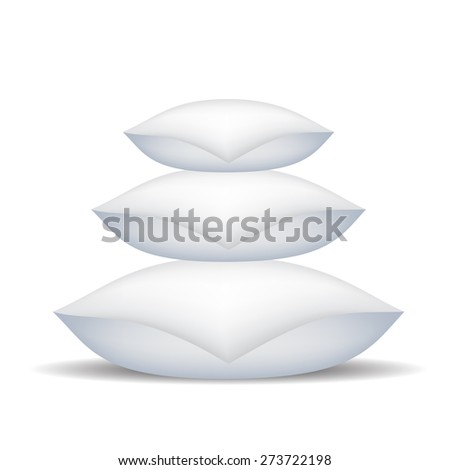 Vector White Soft Pillows Isolated on White Background. - stock vector