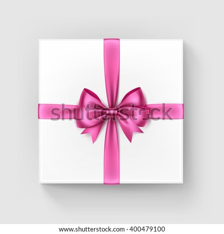 Vector White Square Gift Box with Shiny Light Bright Pink Satin Bow and Ribbon Top View Close up Isolated on White Background - stock vector