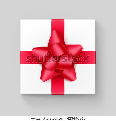 Vector White Square Gift Box with Shiny Red Scarlet Ribbon Bow Close up Top view Isolated on Background - stock vector