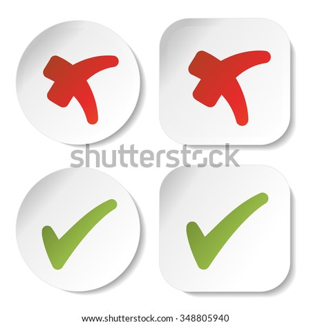 Vector white stickers with check mark symbols, circular and squared buttons