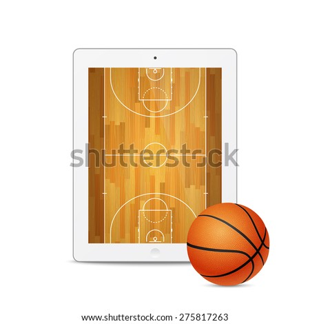 Vector white tablet with basketball ball and court on the screen. Vector EPS10 illustration.