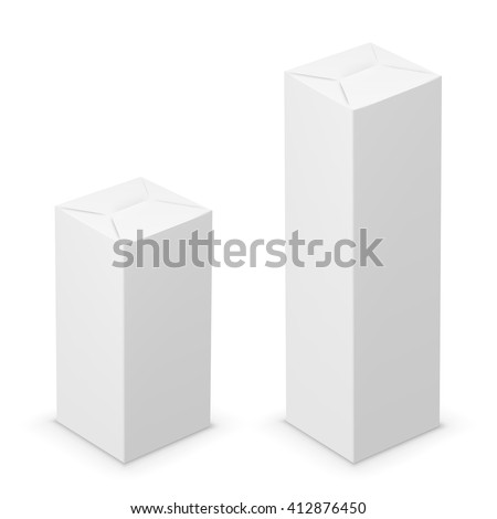 Vector white tall folded box design template. Illustration on white background - stock vector
