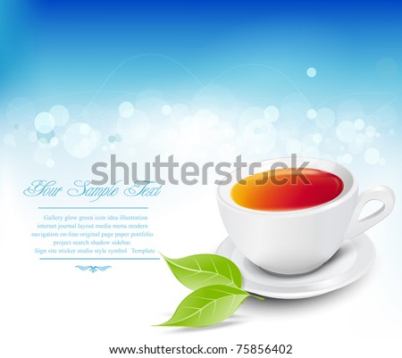 Vector white tea cup with the leaves on a blue background - stock vector