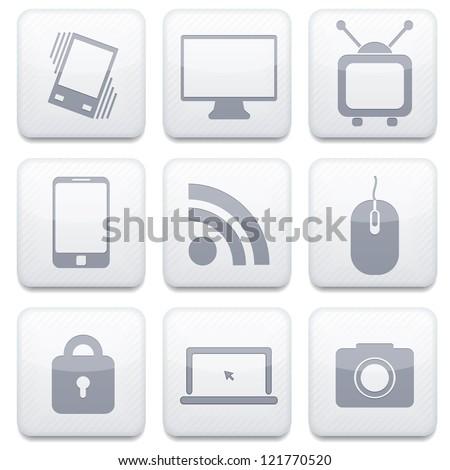 Vector white technology app icon set. Eps10 - stock vector