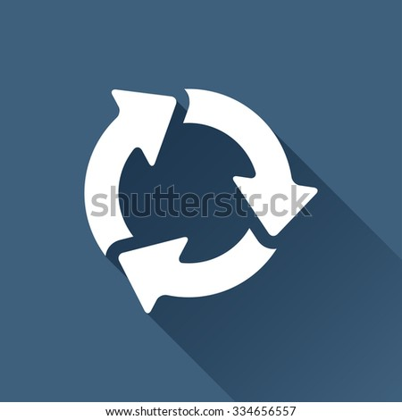 Vector white three arrows icon on dark background