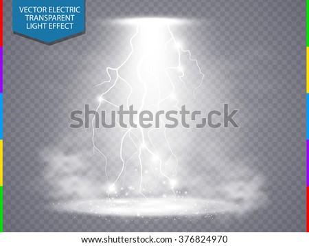 Vector white transparent energy spotlight scene with lightning and fog or smoke background. Abstract light effect power modern design - stock vector