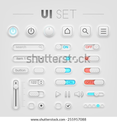 Vector white UI set. High quality design elements
