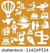 vector white vacation people icon set on orange - stock vector