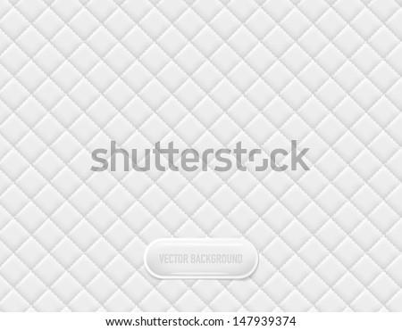 Vector white vinyl upholstery padded glossy background - stock vector