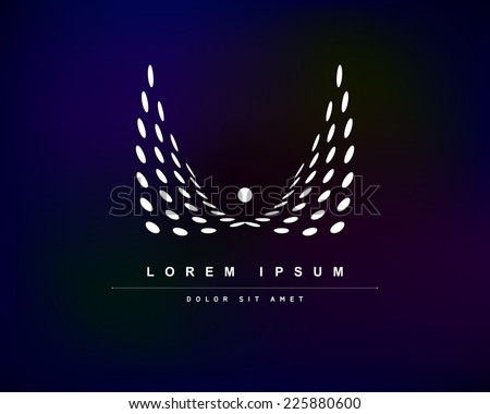 Vector White Wings from Circles of Blue Background. Abstract Creative Concept Logo Icon - stock vector