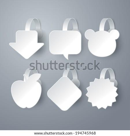 Vector white wobbler set on gray background set 4.  - stock vector