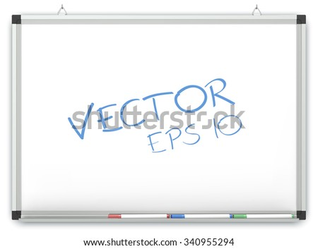 Vector Whiteboard. Whiteboard on wall with Marker Pens. Copy space. Vector EPS10.