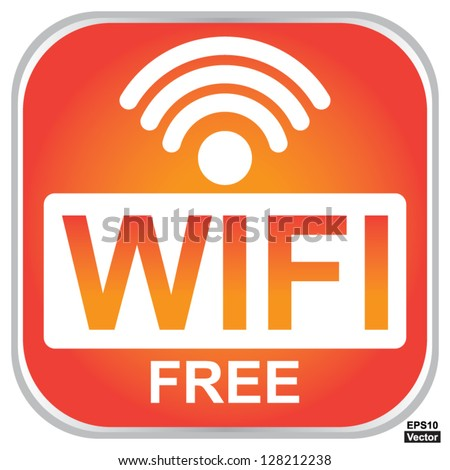 Vector : Wifi Free Sign With Square Orange Glossy Style Icon Isolated on White Background - stock vector