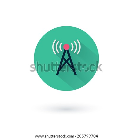 Vector wifi icons for remote access and communication via radio waves - stock vector