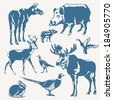 vector wild animals and birds on a white background  - stock