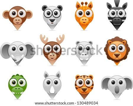vector wild animals pointer icons - Separate layers for easy editing - stock vector
