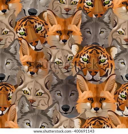 Vector wild animals seamless pattern with tiger, fox, bobcat, wo