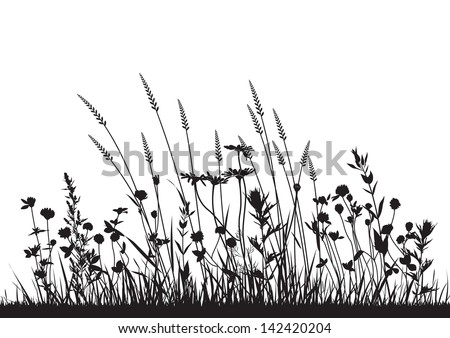 vector wild herbs and flowers silhouette background - stock vector