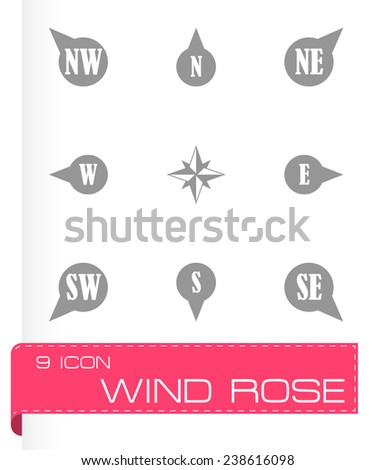 Vector wild rose icon set on grey background - stock vector