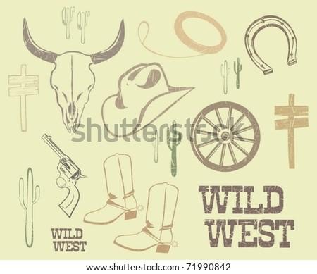 Vector Wild West Western Elements - stock vector