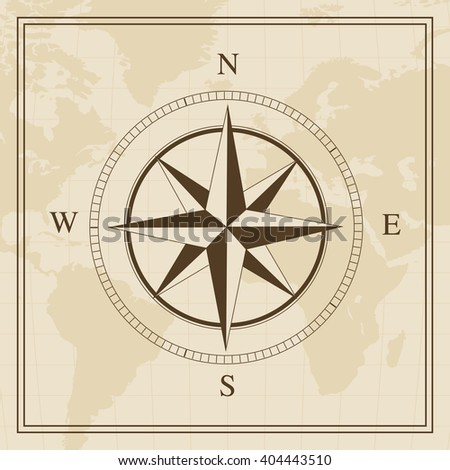 Vector Wind rose on a world map background