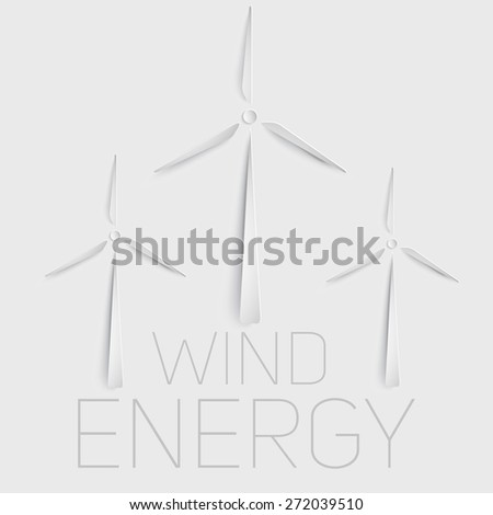 Vector wind turbine symbol. Green energy sign. Paper cut symbol. 3d elements. - stock vector